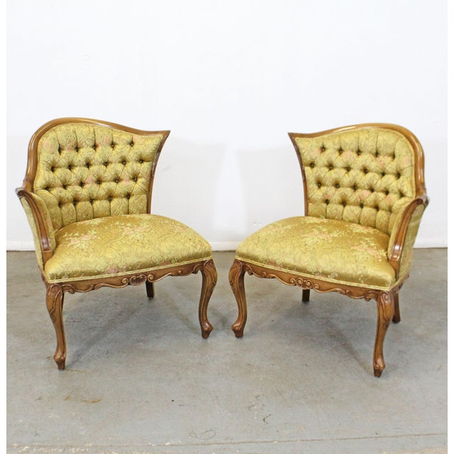 Pair of Vintage French Tufted Fireside Ladies Parlor Arm Chairs For Sale - Image 13 of 13