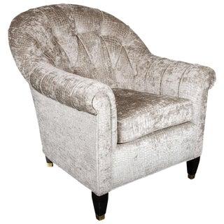 Mid-Century Modern Tufted Button Back Club Chair in Gauffraged Crocodile Velvet