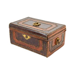 19th Century Italian Studded Leather Jewelry Box For Sale