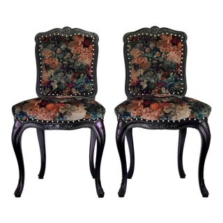 Velvet and Leather Upholstered French Side Chairs - a Pair For Sale