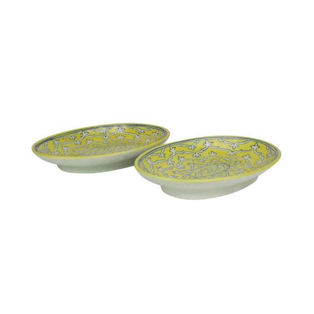 Boho Chic Goldenrod Jaipur Platters - A Pair For Sale - Image 3 of 6