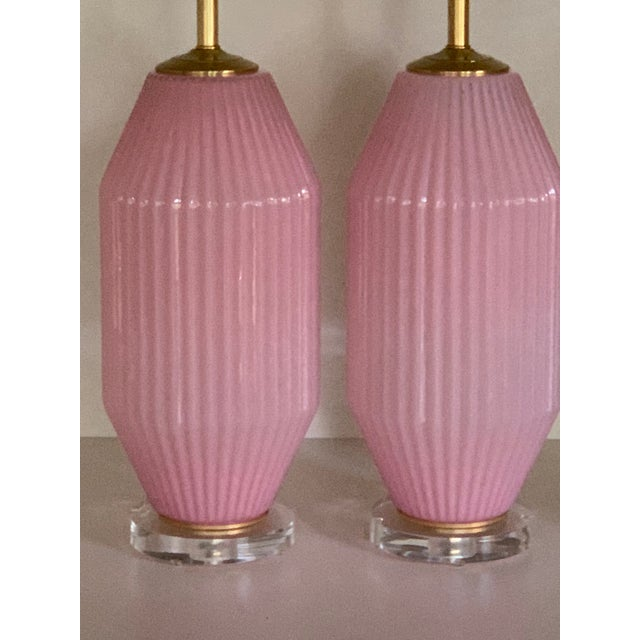 Vintage Pink Murano Art Deco Glass Table Lamp Pair For Sale - Image 10 of 11