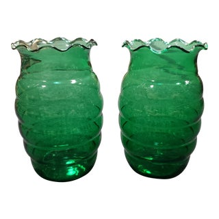 1950s Anchor Hocking Forest Green Glass Beehive Vases - a Pair For Sale