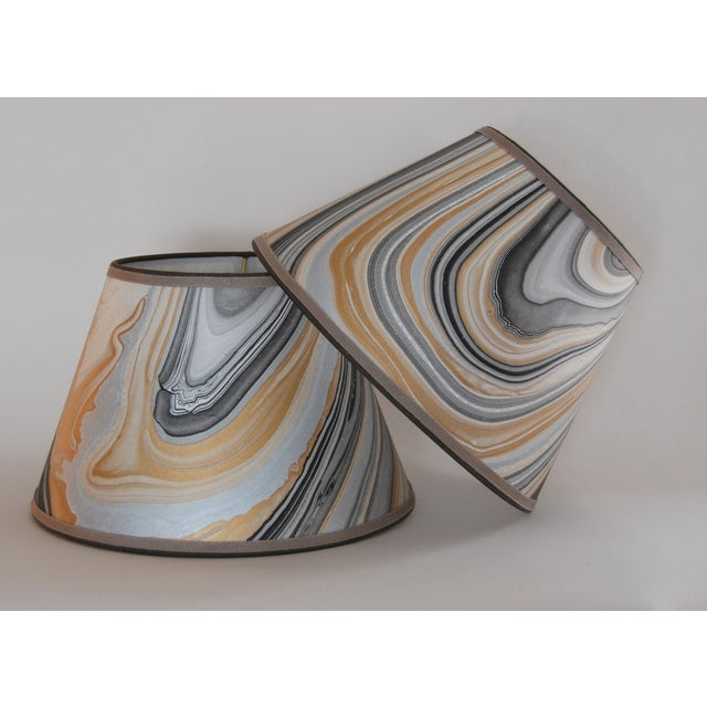 Gold, Grey & Black Marble Lampshades - Pair - Image 2 of 5