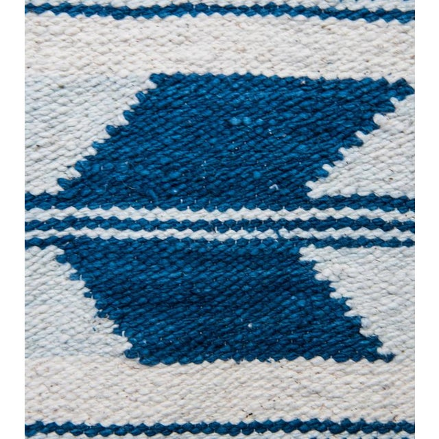 Blue & White Handwoven Chevron Rug - 2′6″ × 5′ - Image 3 of 5