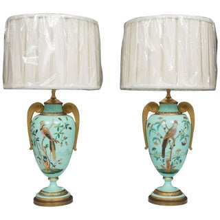 19th Century French Hand-Painted Opaline Lamps - a Pair For Sale
