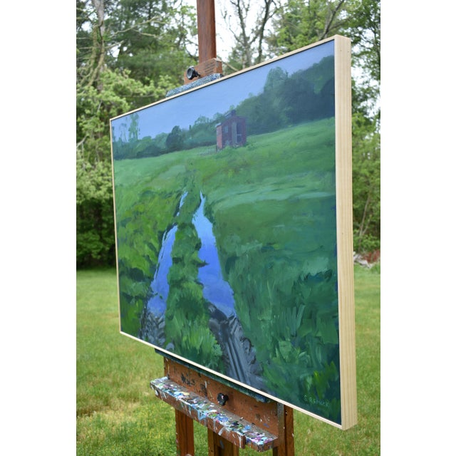 """Blue """"Ruts in the Field to the Chicken Coop"""" Painting For Sale - Image 8 of 12"""