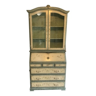 Tall Painted Secretary Desk and China Closet For Sale
