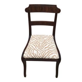 19th Century Georgian Regency Animal Print Mahogany Side Chair For Sale
