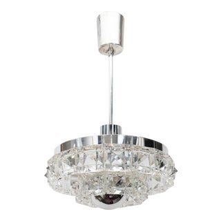 1950s Mid-Century Two-Tier Faceted Glass With Chrome Fittings Chandelier by Kinkeldey For Sale