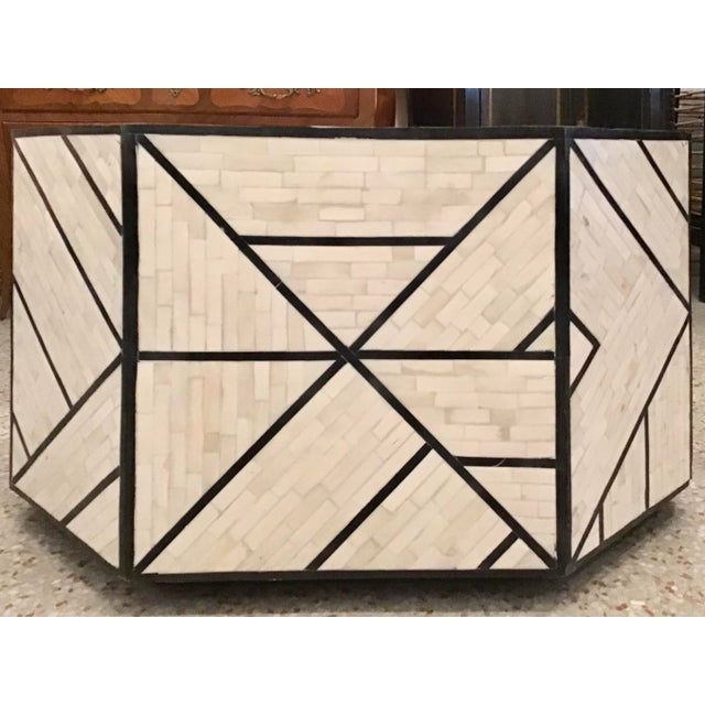 Super Fabulous Modern Tessellated Bone Inlay Geometric coffee Abel with ebony contrast details. This coffee table has...