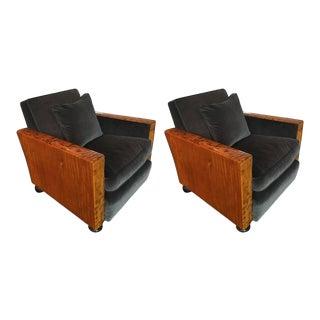 Art Deco Burlwood Club Chairs - a Pair