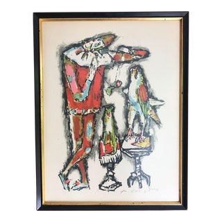 "1950s ""Clowns"" Lithograph Signed Print by Alois Carigiet For Sale"