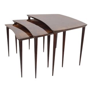 Aldo Tura Goatskin Nesting Tables Italian, Mid-Century Modern For Sale