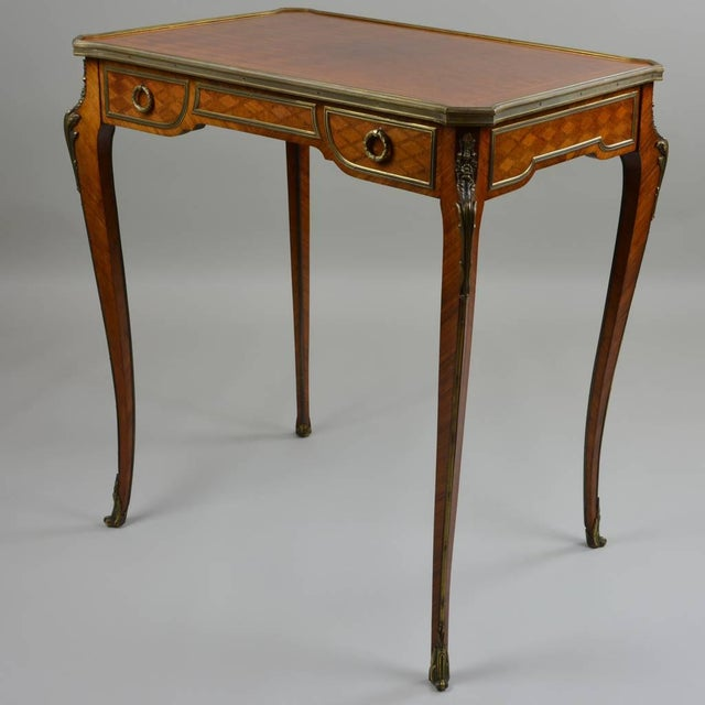 Antique Gilt Bronze Parquetry Inlaid Occasional Table Louis XVI Style For Sale - Image 4 of 7