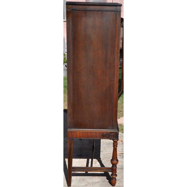 Brown Berkey & Gay Hand Painted Victorian Mahogany China Display Cabinet For Sale - Image 8 of 13