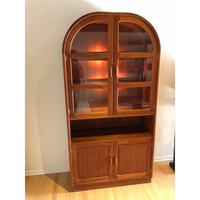 Dyrlund Mid-Century Modern Dyrlund Solid Teak Hutch Display Cabinet For Sale - Image 4 of 4