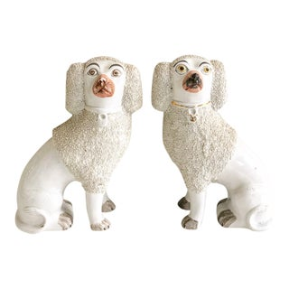 Antique White Curly Hair Staffordshire Figurines - A Pair