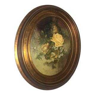 Vintage Floral Still Life Oval Painting on Board For Sale