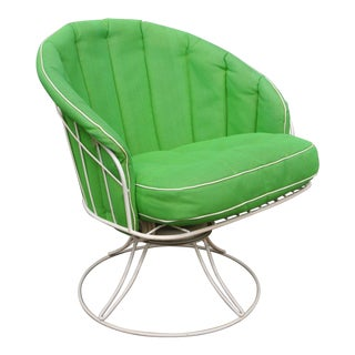Vintage Homecrest Siesta Green Vinyl Wrought Iron Wire Swivel Rocker Chair For Sale