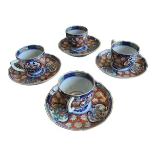 Blue Red and Green Imari Demitas Tea Set for 4 - 8 Pieces For Sale