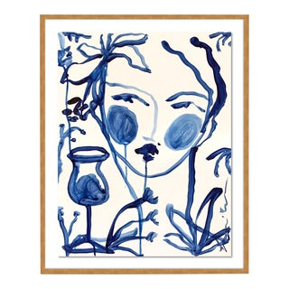 Flowers & Winde Indigo by Leslie Weaver in Gold Framed Paper, Small Art Print For Sale