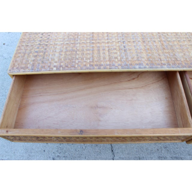 Wood Vintage Italian Dal Vera Bamboo Woven Rattan MCM Desk/Console For Sale - Image 7 of 9