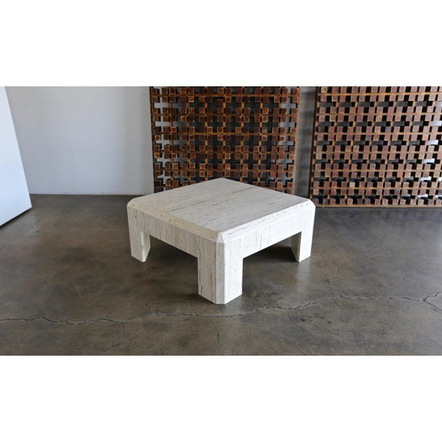 1980s Vintage Modernist Travertine Coffee Table For Sale In Los Angeles - Image 6 of 10