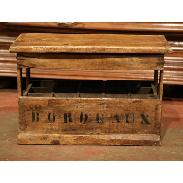 French Old French Pine 15 Wine Bottle Storage Cabinet with Bordeaux Inscription For Sale - Image 3 of 8