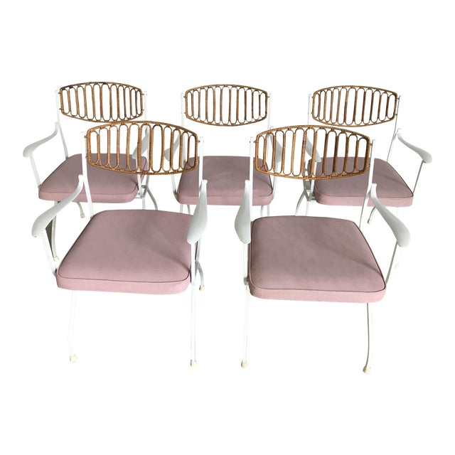 Mid-Century Modern Wrought Iron & Rattan Patio Dining Chairs - Set of 5 - Image 1 of 11