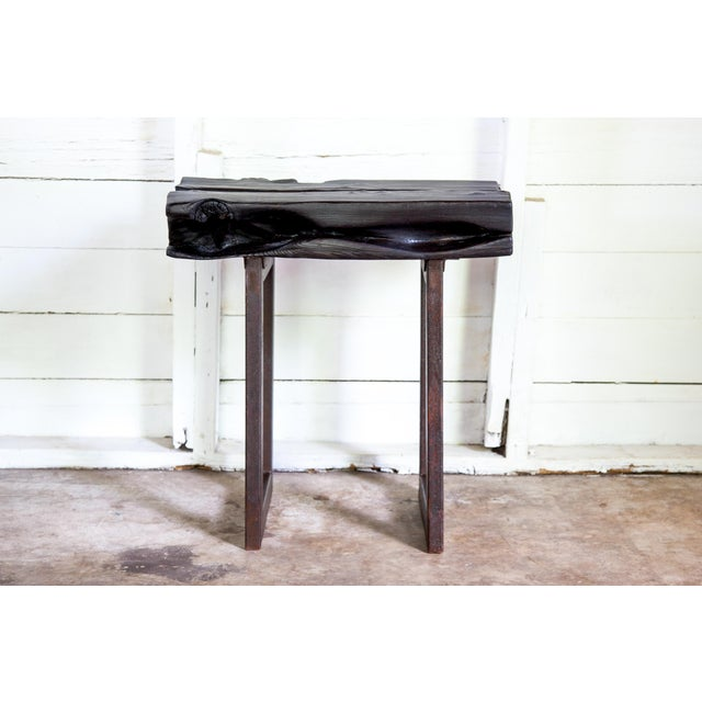 2010s Asian Modern Yakisugi Wood and Metal Side End Table For Sale - Image 5 of 13
