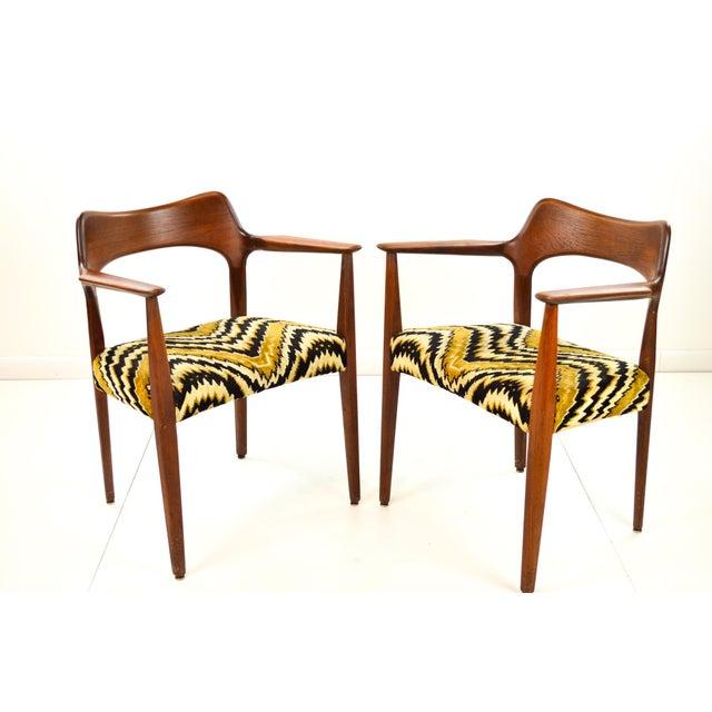Mid-Century Modern Danish Teak Arm Chairs - A Pair - Image 5 of 10