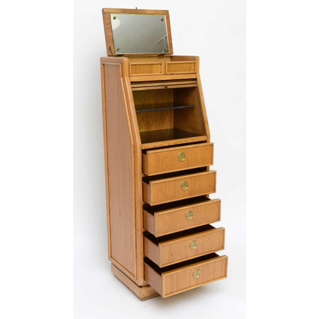 Campaign Campaign Style Modern Tall Slender Dresser Valet by American of Martinsville 1960s For Sale - Image 3 of 10