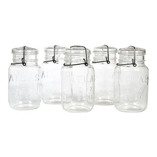 Large Kitchen Glass Canning Jars, Set of 5