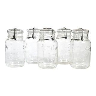 Large Kitchen Glass Canning Jars, Set of 5 For Sale