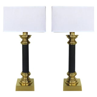 Fine Quality Pair of Stiffel Brass and Leather Classical Column Table Lamps For Sale