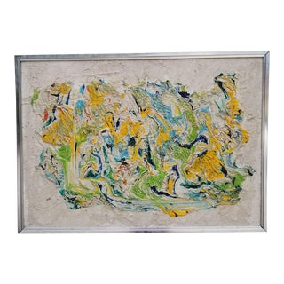 1960's Expressionist Impasto Mixed Media Painting by Cowan For Sale