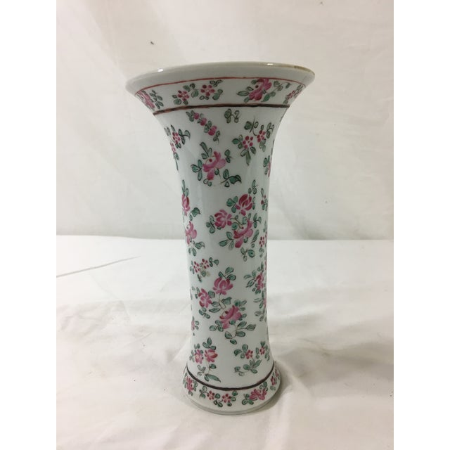 French Floral Trumpet Vases - a Pair For Sale - Image 6 of 9