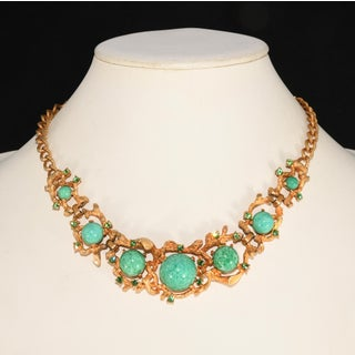 High Domed Cabochon Green Glass Rhinestones Necklace Bracelet Earrings Set Preview
