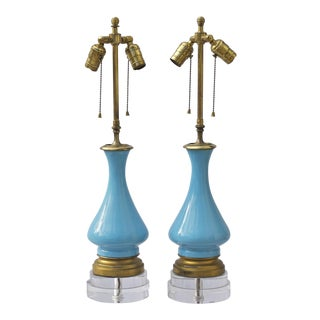 French Blue Opaline Lamps on Custom Lucite Bases - A Pair
