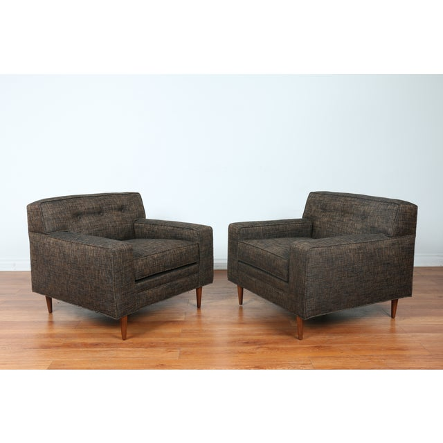 Gray Cubed Lounge Chairs- A Pair - Image 2 of 10