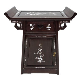 Vintage Chinese Solid Rosewood & Inlaid Mother of Pearl Altar Style Side Table or Console For Sale