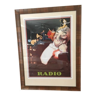 'Radio' Oversized European Cafe Poster, Framed For Sale