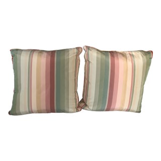 Scalamandre Stripe Silk Custom Pillows - A Pair For Sale