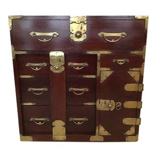 19th Century Asian Antique Brass Detailed Chest of Drawers For Sale