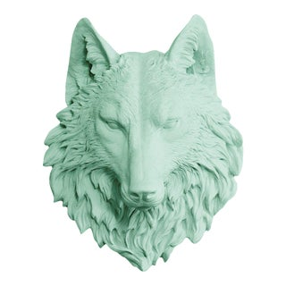 Wall Charmers Faux Taxidermy Mint Wolf Mount For Sale
