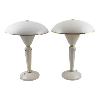 Eileen Gray for Jumo Modernist Art Deco White Bakelite Table Lamp - a Pair For Sale