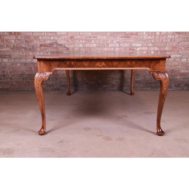 Brown Baker Furniture Stately Homes Queen Anne Inlaid Walnut Extension Dining Table, Newly Refinished For Sale - Image 8 of 13
