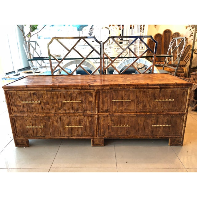 Bamboo Vintage Split Reed Bamboo Credenza Sideboard For Sale - Image 7 of 7