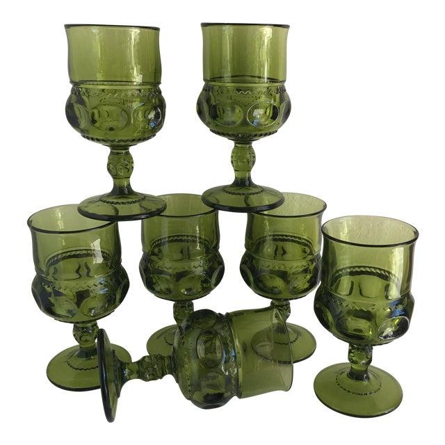 Mid-Century Green Goblet Glasses - Set of 7 For Sale